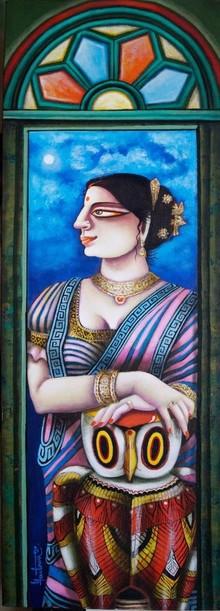 Figurative Acrylic Art Painting title Charulata 2 by artist Gautam Mukherjee