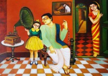 Gautam Mukherjee | Acrylic Painting title My Family 2 on Canvas | Artist Gautam Mukherjee Gallery | ArtZolo.com