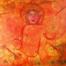 DADA | Acrylic Painting title A Girl on Canvas | Artist DADA Gallery | ArtZolo.com