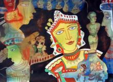 Figurative Watercolor Art Painting title Evolution Of Human Being by artist DADA