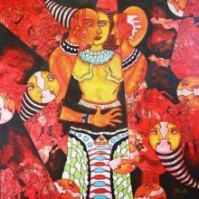 DADA | Acrylic Painting title Human Minds on Canvas | Artist DADA Gallery | ArtZolo.com
