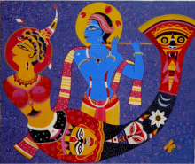 Dreamgirl with Krishna | Painting by artist Bhaskar Lahiri | acrylic | Canvas