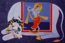Bhaskar Lahiri | Acrylic Painting title Kamdhenu 5 on Canvas | Artist Bhaskar Lahiri Gallery | ArtZolo.com
