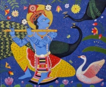 art, beauty, painting, acrylic, canvas, religious, lord krishna, muralidhar