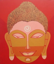 Bhaskar Lahiri | Acrylic Painting title Buddha 1 on Canvas | Artist Bhaskar Lahiri Gallery | ArtZolo.com