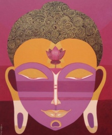 Bhaskar Lahiri | Acrylic Painting title Buddha 2 on Canvas | Artist Bhaskar Lahiri Gallery | ArtZolo.com