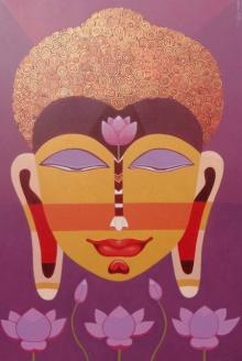 Bhaskar Lahiri | Acrylic Painting title Buddha 3 on Canvas | Artist Bhaskar Lahiri Gallery | ArtZolo.com