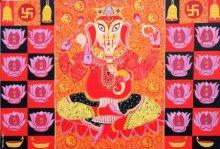 Bhaskar Lahiri | Acrylic Painting title Ganesha on Canvas | Artist Bhaskar Lahiri Gallery | ArtZolo.com