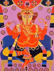Religious Acrylic Art Painting title Ganapati by artist Bhaskar Lahiri