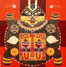 Religious Acrylic Art Painting title Kurmavatar by artist Bhaskar Lahiri