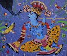 Religious Acrylic Art Painting title Muralidhar by artist Bhaskar Lahiri