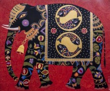 Animals Acrylic Art Painting title 'Royal Elephant 5' by artist Bhaskar Lahiri