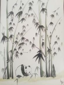 Animals Watercolor Art Painting title 'Panda' by artist Gayathri Nair