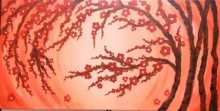 Nature Acrylic Art Painting title 'Summer Blossoms' by artist Gayathri Nair
