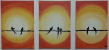 Abstract Acrylic Art Painting title 'Sunset' by artist Gayathri Nair