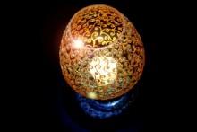 Gold Spirals   Glass art by artist Shweta Vyas