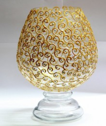 Metallic Gold Swirls | Glass art by artist Shweta Vyas