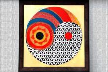 Flower of life yin yang   Glass art by artist Shweta Vyas