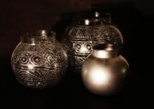 Reverse painted vase in set of 3   Glass art by artist Shweta Vyas