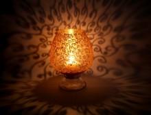 Metallic Gold Swirls Candle Holder   Glass art by artist Shweta Vyas