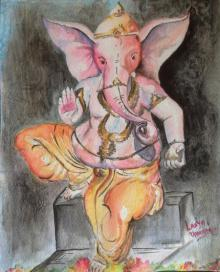 Religious Watercolor Art Painting title 'Ganesha' by artist Lasya Upadhyaya