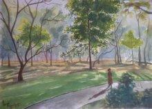 Landscape Watercolor Art Painting title Strolling through Cubbon park by artist Lasya Upadhyaya