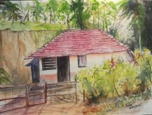 Lasya Upadhyaya | Watercolor Painting title A peaceful morning at Wayanad on Paper | Artist Lasya Upadhyaya Gallery | ArtZolo.com