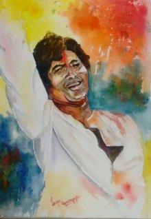Figurative Watercolor Art Painting title Rang Barse by artist Lasya Upadhyaya