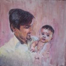 Portrait Acrylic Art Painting title Fathers Pride by artist Lasya Upadhyaya