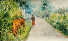 Scenic Watercolor Art Painting title 'Daybreak in Kerala' by artist Lasya Upadhyaya