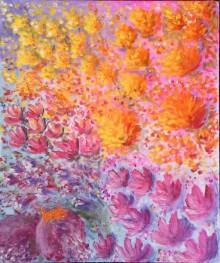 Abstract Acrylic Art Painting title Dream Flowers by artist Lasya Upadhyaya