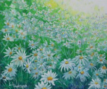 Nature Acrylic Art Painting title White flower field by artist Lasya Upadhyaya