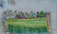 Lasya Upadhyaya Paintings | Watercolor Painting - Shimoga landscape by artist Lasya Upadhyaya | ArtZolo.com