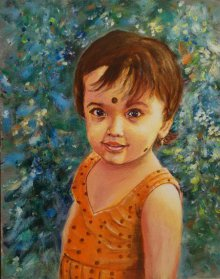 Figurative Acrylic Art Painting title 'Sparkling with innocence' by artist Lasya Upadhyaya