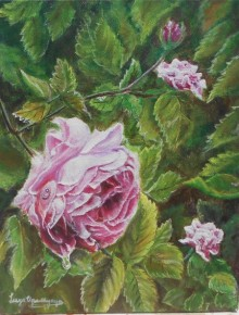 Pink rose | Painting by artist Lasya Upadhyaya | acrylic | Canvas Board