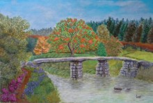 Lasya Upadhyaya | Acrylic Painting title Stone bridge amidst nature on Canvas Board | Artist Lasya Upadhyaya Gallery | ArtZolo.com