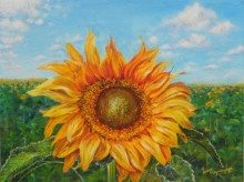 Nature Acrylic Art Painting title 'The golden sunflower' by artist Lasya Upadhyaya