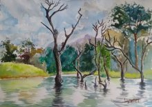 Landscape Watercolor Art Painting title 'The Silent Creek' by artist Lasya Upadhyaya