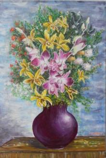 Still-life Acrylic Art Painting title Vase of orchids by artist Lasya Upadhyaya