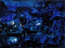Asit Poddar Paintings | Acrylic Painting - Blue Magic Abstract by artist Asit Poddar | ArtZolo.com