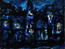 Asit Poddar | Acrylic Painting title Abstract Castle on Canvas | Artist Asit Poddar Gallery | ArtZolo.com