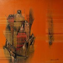 Rahul Dangat Paintings | Acrylic Painting - Conquer Orange Abstract by artist Rahul Dangat | ArtZolo.com