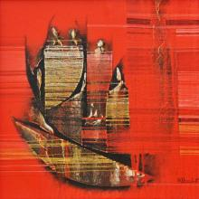 Rahul Dangat | Acrylic Painting title Conquer Red Abstract on Canvas | Artist Rahul Dangat Gallery | ArtZolo.com