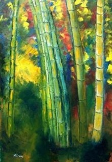 Impressionist Oil Art Painting title 'Bamboo Trees' by artist Kiran Bableshwar