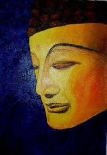 Religious Oil Art Painting title 'Buddha Golden Radiance' by artist Kiran Bableshwar