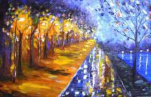 Impressionist Oil Art Painting title 'Evening Walk Near Sankey Tank 20x13 Inc' by artist Kiran Bableshwar