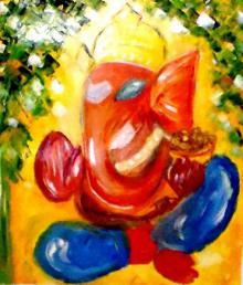 Religious Oil Art Painting title 'Ganesha' by artist Kiran Bableshwar