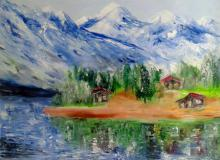 Landscape Oil Art Painting title 'Himalayas' by artist Kiran Bableshwar