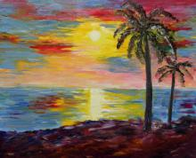 Kiran Bableshwar | Oil Painting title Kerala Sunset on Canvas | Artist Kiran Bableshwar Gallery | ArtZolo.com