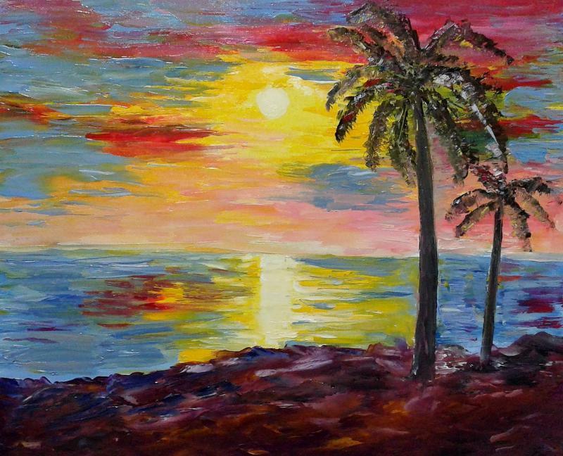 kerala sunset by artist kiran bableshwar landscape art oil paintings